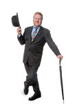 Businessman with bowler hat & brolly - on white Royalty Free Stock Photo