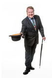 Businessman with bowler hat & brolly - on white Stock Photos