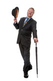Businessman with bowler hat & brolly - on white Royalty Free Stock Images