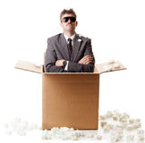 Businessman in a box Royalty Free Stock Image