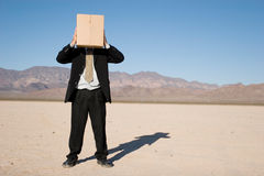 Businessman with a box Stock Image