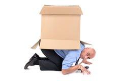 Businessman with box Stock Photo