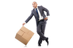 Businessman with box Royalty Free Stock Photos