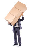 Businessman with box. Isolated on the white Stock Photography