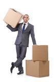 Businessman with box Stock Photography