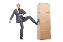 Businessman with box Royalty Free Stock Photo