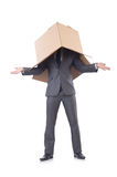 Businessman with box Royalty Free Stock Image