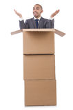 Businessman with box Stock Image