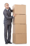 Businessman with box Stock Photos