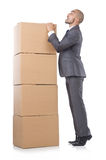 Businessman with box Stock Photo
