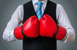 Businessman or box manager in fighting pose Royalty Free Stock Images