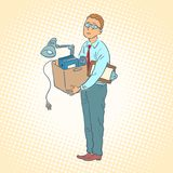Businessman with box moving office royalty free illustration