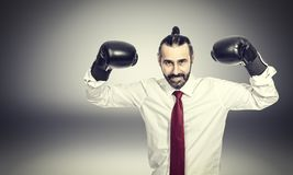 Businessman with boxe gloves. Portrait of businessman with boxe gloves stock image