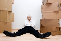 Businessman and boxes Royalty Free Stock Photography