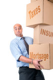 Businessman with boxes Stock Images