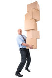 Businessman with boxes Royalty Free Stock Photos