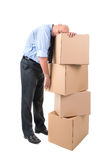 Businessman with boxes Royalty Free Stock Image