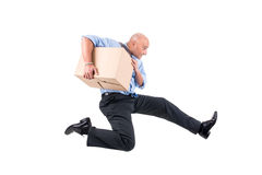Businessman with boxes Stock Image
