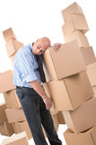 Businessman with boxes Stock Photography