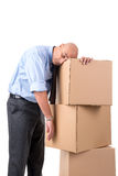 Businessman with boxes Royalty Free Stock Photo