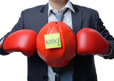 Businessman with boxing glove ready to fight with work, business Stock Image