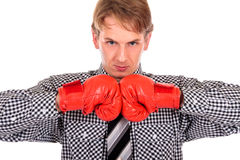 Businessman boxing gloves Stock Photos
