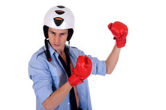 Businessman boxing gloves Royalty Free Stock Image