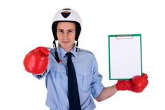 Businessman boxing gloves Royalty Free Stock Photo