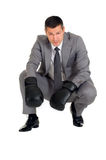 Businessman with boxing gloves Stock Image