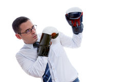 Businessman in boxing gloves Royalty Free Stock Images