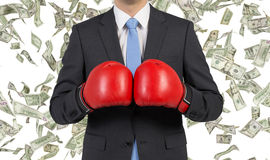 Businessman in boxing gloves Stock Images
