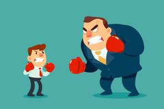 Businessman in boxing gloves fighting against bigger businessman. Business competition concept Royalty Free Stock Photo