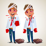 Businessman with boxing gloves. Fighting at work. character design - vector illustration Royalty Free Stock Photography
