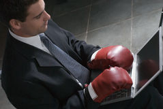 Businessman with Boxing Gloves - Horizontal Royalty Free Stock Photos
