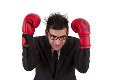Businessman with boxing gloves Royalty Free Stock Images