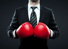 Businessman in boxing gloves Royalty Free Stock Photos