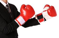 Businessman with boxing gloves isolated Royalty Free Stock Photos