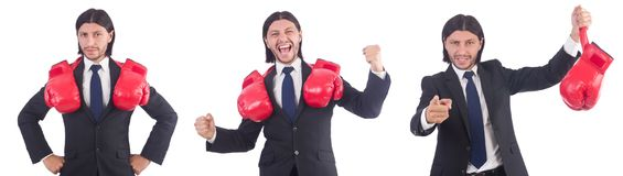 The businessman with boxing gloves on white Stock Photo