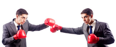 Businessman with boxing gloves on the white Stock Images