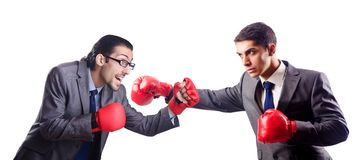 Businessman with boxing gloves on the white Royalty Free Stock Photos