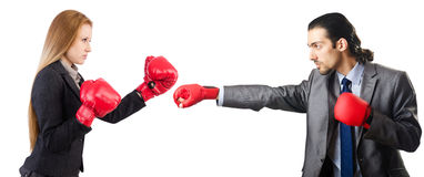 The businessman with boxing gloves on white Royalty Free Stock Images
