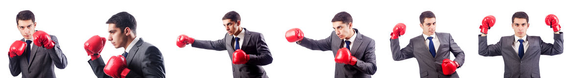 The businessman with boxing gloves on white Stock Photography