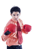 Businessman and boxing gloves on white Stock Photography