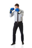 Businessman with boxing gloves. Royalty Free Stock Image