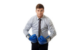 Businessman with boxing gloves. Stock Photos