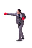 The businessman boxing isolated on the white background Royalty Free Stock Photography