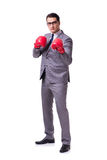 The businessman boxing isolated on the white background Stock Photo