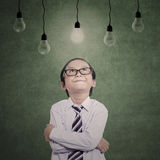 Businessman boy looking at lit bulbs Stock Photography