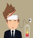 Businessman brain charger Stock Photos