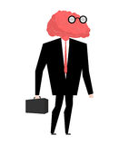 Businessman brain genius. Very clever manager. Brain wearing gla Stock Image